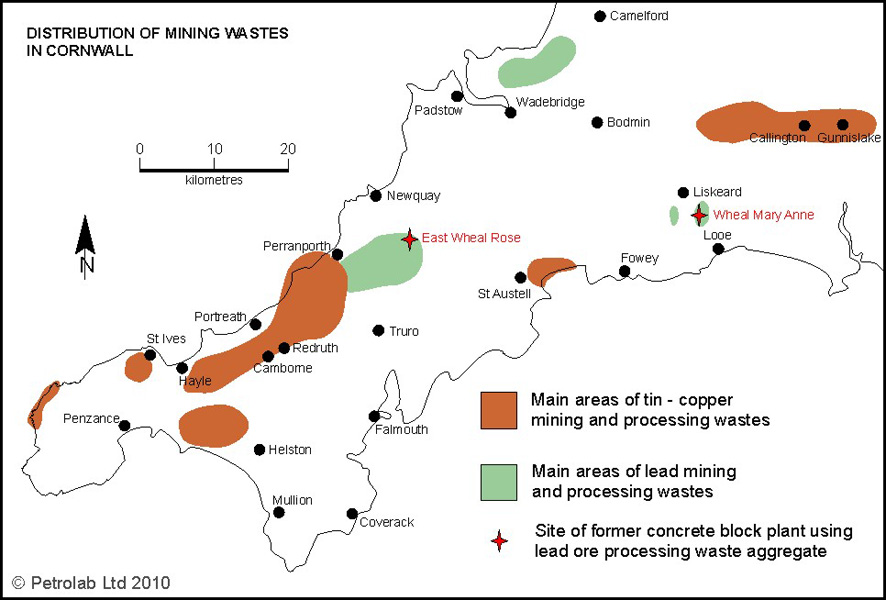 Distribution of Mining Wastes in Cornwall