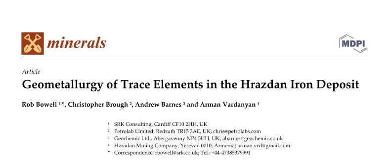 NEW paper; Geometallurgy of Trace Elements in the Hrazdan Iron Ore Deposit